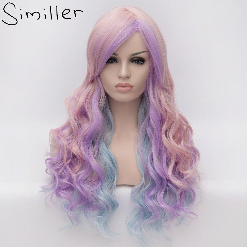 Similler Langen Lockigen Mädchen Ombre Haar Cosplay Partei Synthetische Perücken Lila Blau Rosa Highlight Mischfarben 3 Töne