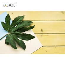 Laeacco Yellow Wooden Board Green Leave Food Portrait Photography Backgrounds Customized Photographic Backdrops for Photo Studio