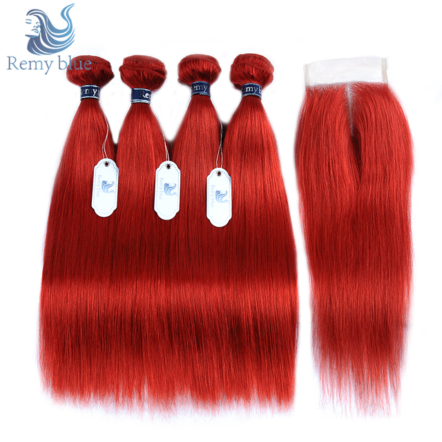 Remy Blue Peruvian Straight Hair Bundles With Closure Burgundy Red