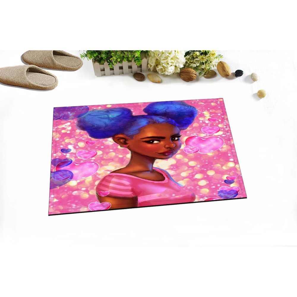40*60 センチメートルアフリカ系アメリカ人女性ノンスリップマットふわふわメモリ泡風呂マット子供のための増粘トイレ廊下キッチンドア床の敷物