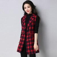 Plaid Suit Vest Women Sleeveless Slim Long Vest Coat Office Lady Double Breasted Waistcoat For Women Plus Size 2Xl 3Xl A5362