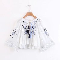QPFJQD Spring Fashion Floral Embroidered Blouse Ladies Loose Hollow Tassel Bow Tie Pleated Casual Shirts White