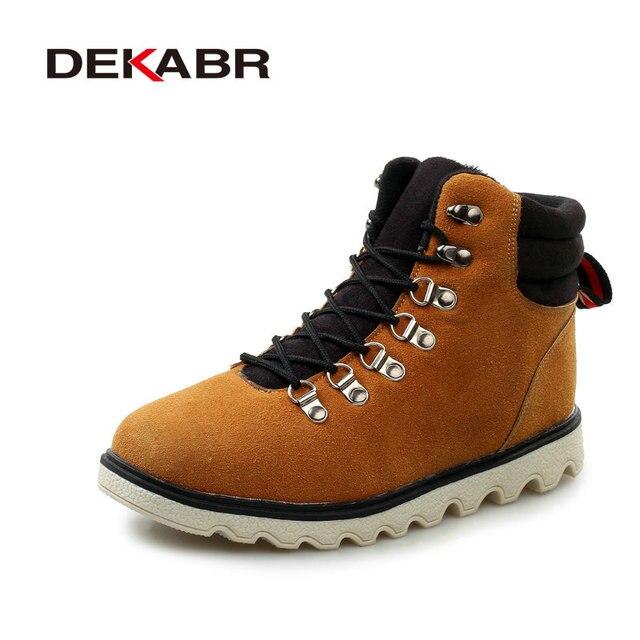 Los Hombres hechos a mano Botas de Nieve Zapatos de Cuero de Gamuza Casual Male Calidad botas de Moda de Invierno Cálido, Además de Botines de Piel Caliente Para hombres