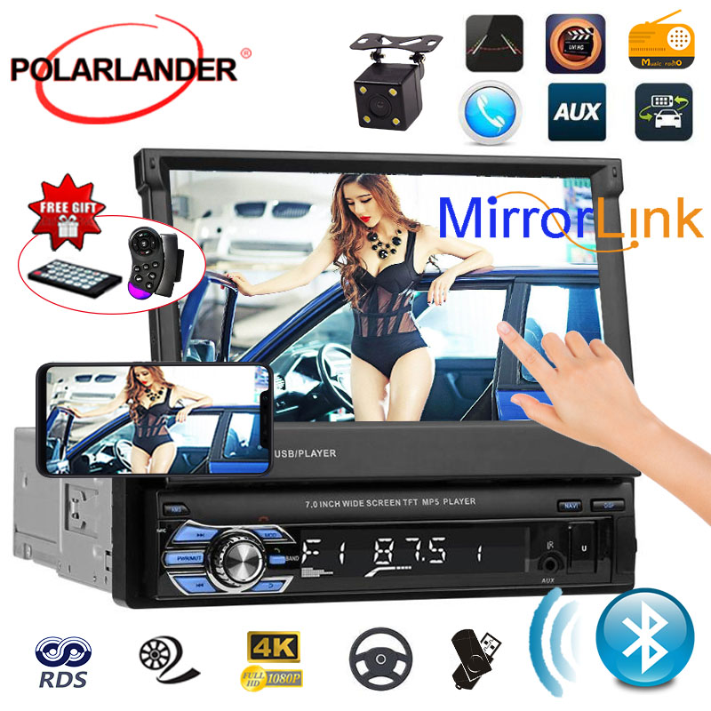 1 din for rear camera Car radio MP5 Player GPS Navigation Multimedia car audio stereo Bluetooth 7 HD Retractable Autoradio AUX- image