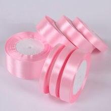 6 мм 10 мм 15 мм 20 мм 25 мм 40 мм 50 мм светильник, Розовые атласные ленты, рождественские украшения для свадьбы, дня рождения, подарочная упаковка