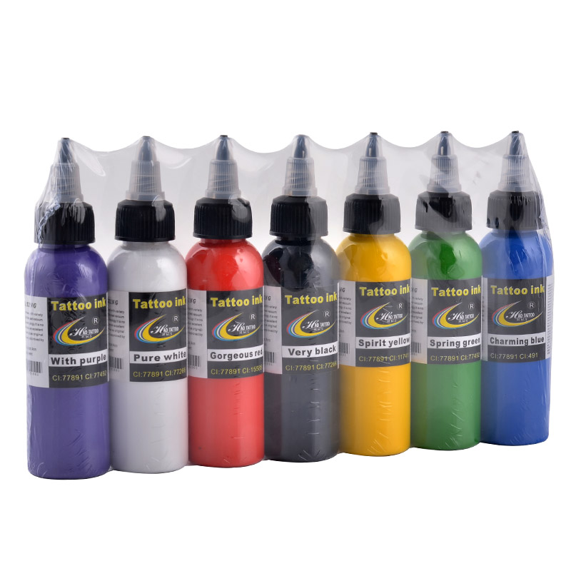 Hao Tattoo Professional Tattoo Ink Supply 2OZ 60ml/bottle Top Pigment for Body Art Tattoo Kits Supplies 7 Colors