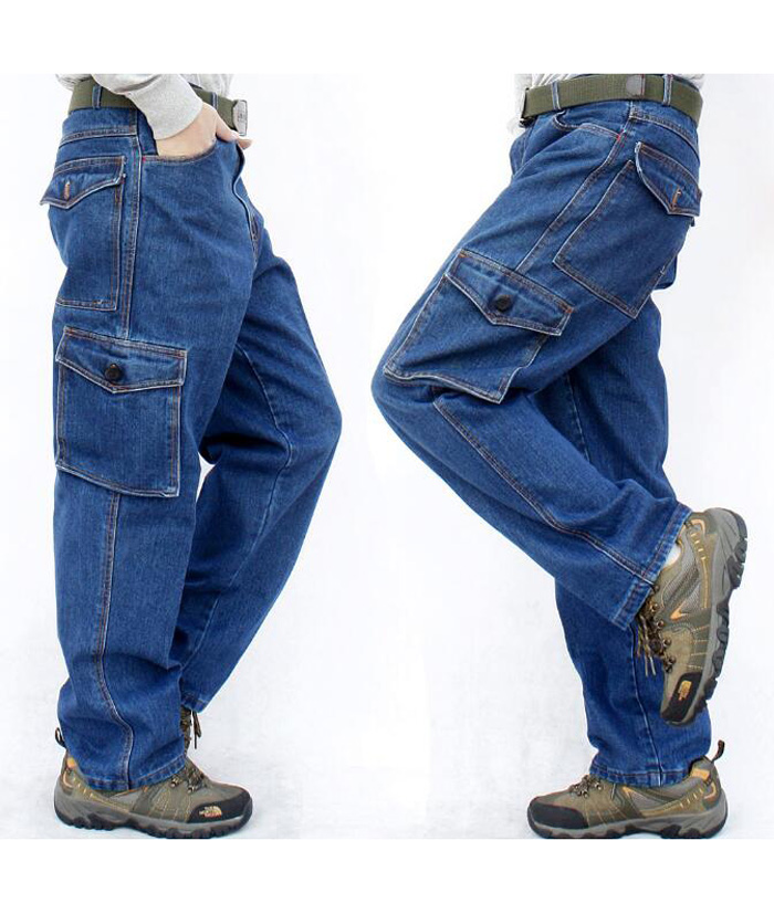 Man Jeans Men Pants Blue Straight Cotton Male Denim Brand Jeans More Pocket Overalls