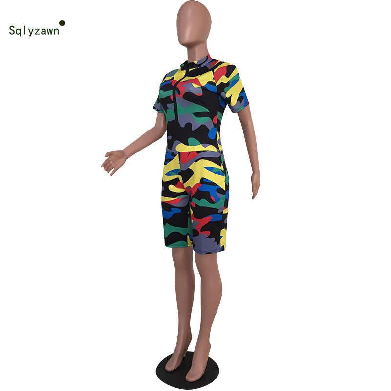 2019 verano mujer Sexy estampado de camuflaje de manga corta Mujer Streetwear de cremallera Fitness mono Bodycon Camo Pantalones