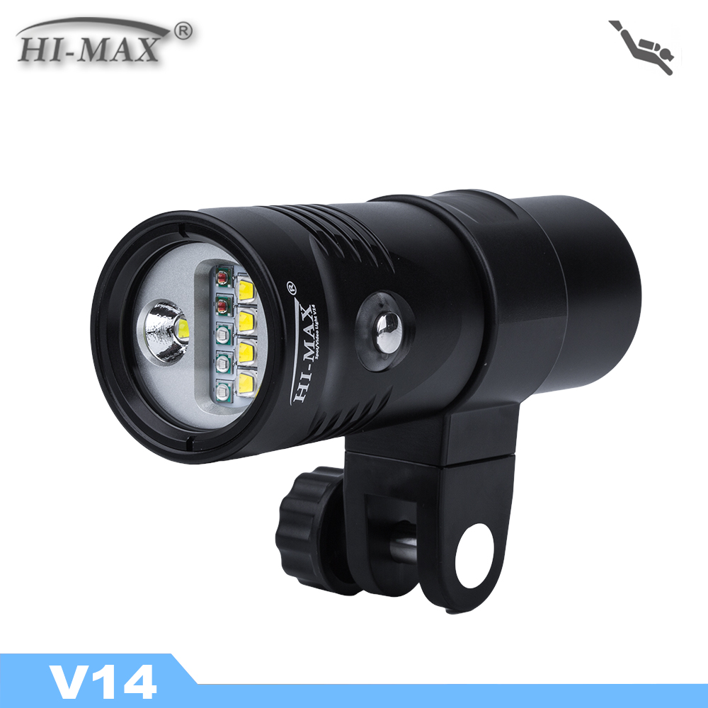 Hi-Max V14 Underwater Video Light 2400LM With Red/UV/White Led Diving Flashlight UW 100M Waterproof Scuba Lamp