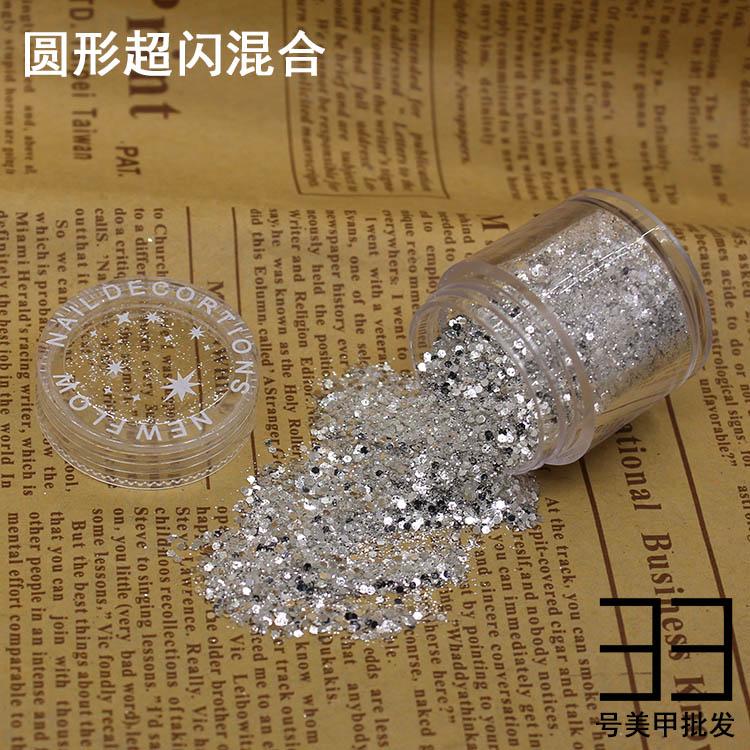 10 g/caixa 1mm hexágono prata prego glitter poeira mistura fina 3d unhas lantejoulas acrílico glitter em pó grandes dicas da arte do prego decoração 10 ml
