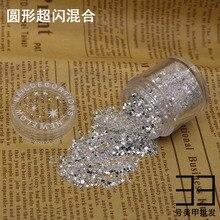 10 g/pudło 1mm sześciokąt srebrny paznokci brokat pył grzywny Mix 3D paznokci cekiny akrylowe brokat proszek duża dekoracja do artystycznych paznokci tipsów 10ML