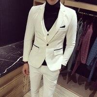 (Áo khoác + Vest + Quần) phù hợp với Men Slim Fit Mùa Xuân Nhãn Hiệu 2017 Màu Trắng Wedding Suits Kinh Doanh Mens Blazer Thiết Lập Chính Thức Mặc Trang Phục Homme