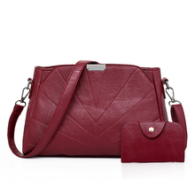 Latest New Fashion Brand 1 Set Women Black Red Gray Shoulder & Crossbody Bag Handbag and Card Messenger Ladies Baguette