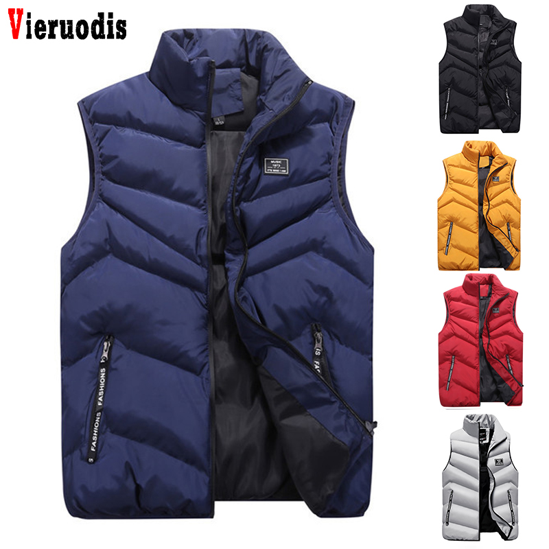 Winter Thicken Waistcoats Casual Men's Vest 4XL Mens Jacket Sleeveless Vest Quality Solid Slim Coats Male Cotton-Padded