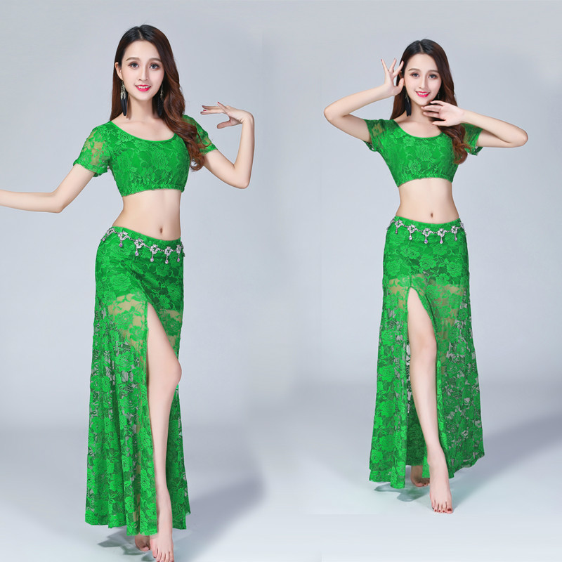 Image 2 - Sexy belly dance lace costume(top+skirt)2pcs/suit Sexy lace split skirt suit-in Belly Dancing from Novelty & Special Use