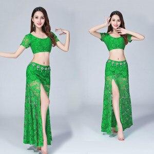 Image 2 - Traje Sexy de encaje para danza del vientre (top + falda), 2 uds./traje, falda dividida de encaje