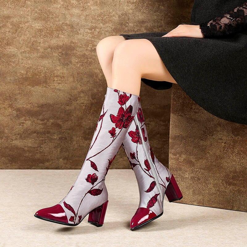 Zapatos Impresión Cuero Tacones Pantorrilla Larga Phoentin Botas Flor Media Alta Tinto Vino Patchwork La Ft531 Genuino Mujeres De Para Cremallera Las TXpqWpZ7v