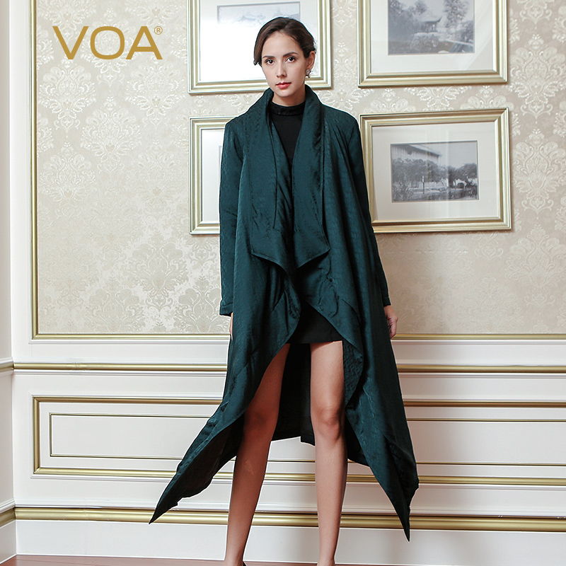 VOA Fall 2017 Autumn Winter Dark Green Silk Jacquard Robe Heavy Coat Plus Size Long Sleeve Ruffles Luxury Women Parka M7303 куртка turbokolor ewald plus jacket fw13 dark green l