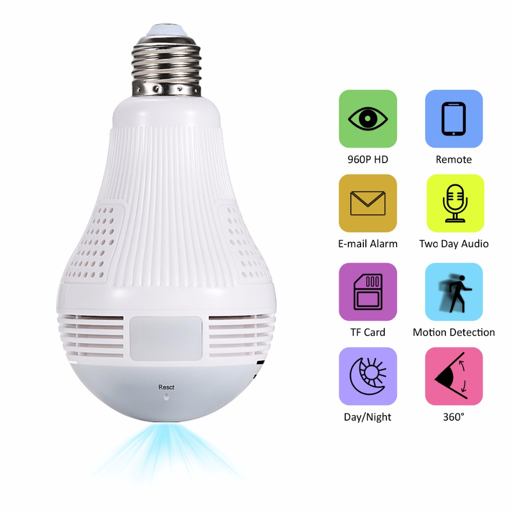 JOOAN 960P Bulb Lamp Camera Wireless IP Camera Wifi Panoramic FishEye Home Security CCTV Camera Night Vision 360 Degree cam led bulb lamp wireless ip camera wifi 1080p panoramic fisheye home security cctv camera 360 degree night vision