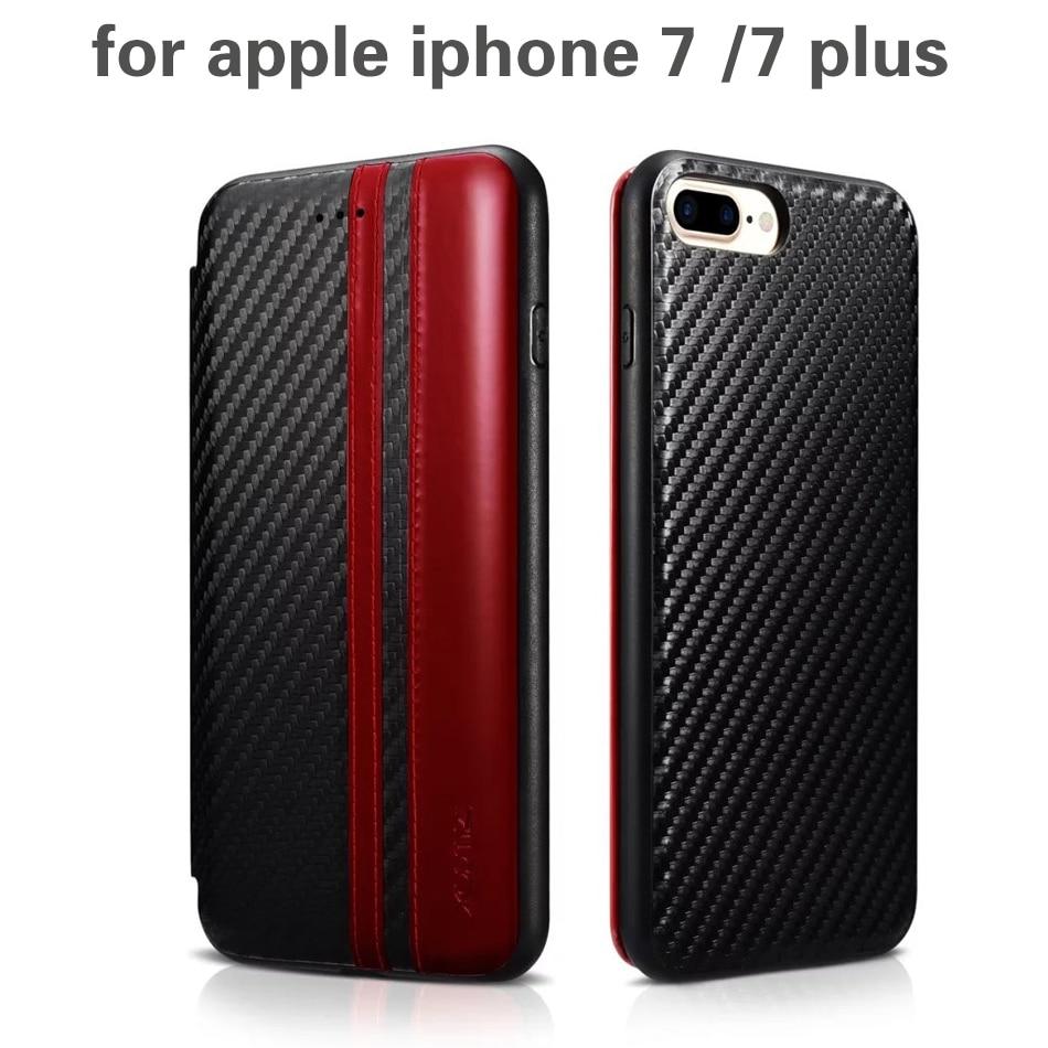 imágenes para XOOMZ Top Diseño Caso Del Tirón Del Cuero de LA PU + de silicona para apple iphone 7/7 más Fibra de Carbono Estilo Folio cubierta del teléfono Casos