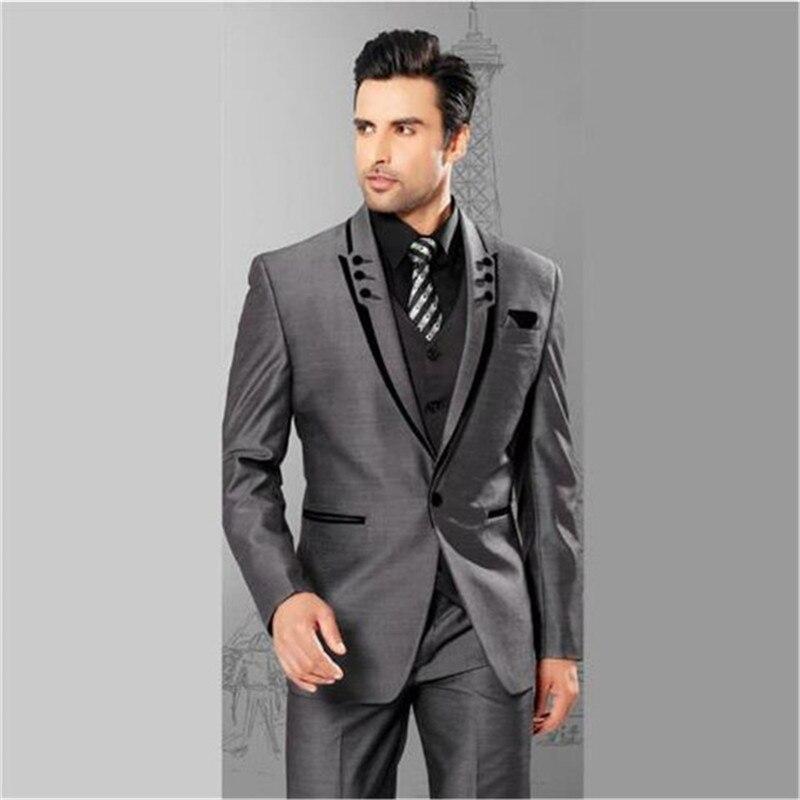 Custom Mens Suits Grey Suits For Men 3 Pieces (Jacket+Pants+Vest) Terno Masculino Groom Blazer Tuxedo Man Clothes