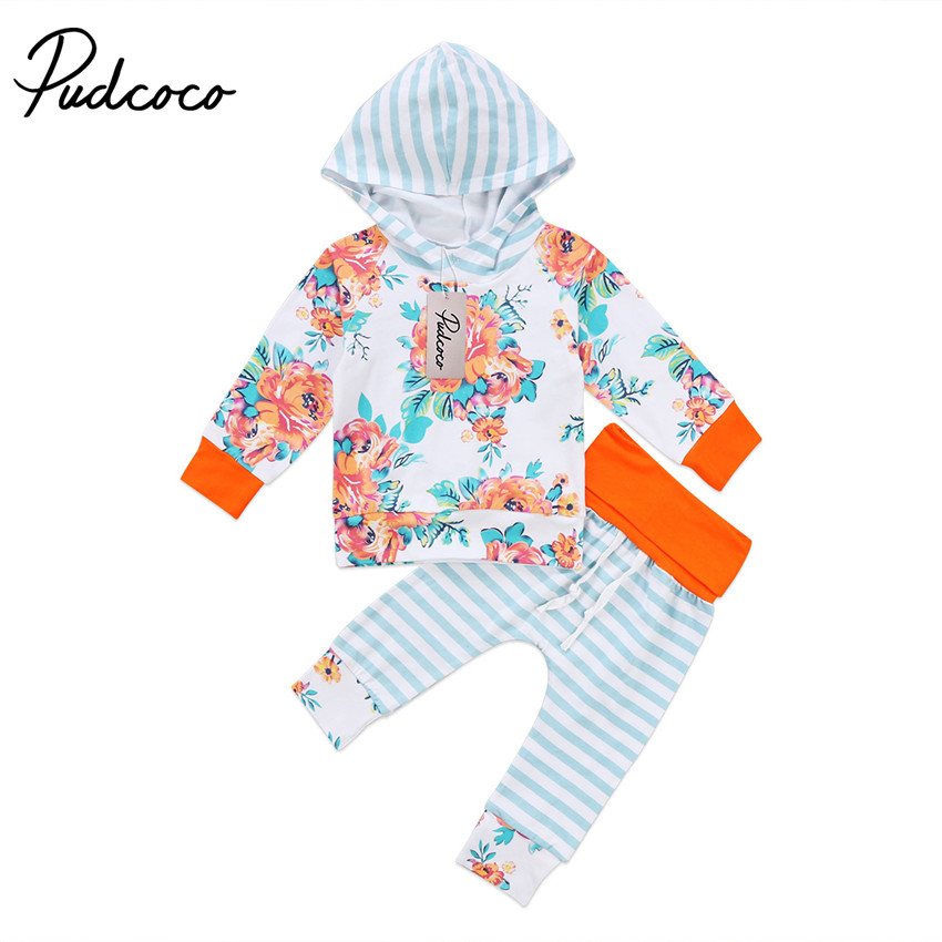 Hot sell Cute Newborn Baby Girls Clothes Long Sleeve Floral Hooded Tops +Pants 2Pcs Outfits Clothes Set