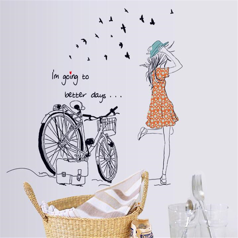 Bicycle Girl Home Mural Bedroom Living Room warm decoration Background wall sticker MJ7008