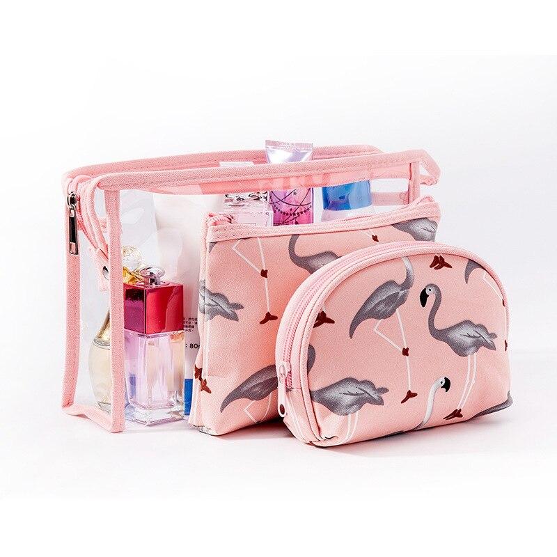 50SETS / LOT Women Cosmetic Bags PVC Transparent Zipper Make Up Bags Portable Bath Wash Makeup Tote Organizer 3PCS/SET