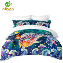 3D Pisces Constellation Bedding Set Kids Colorful Cartoon Duvet Cover Dreamlike Galaxy Print Pillowcase D20