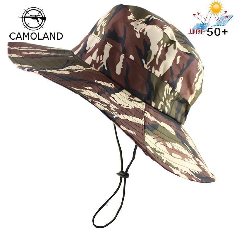 2d400cd6 Waterproof Tactical Airsoft Sniper Camouflage Boonie Hats Foldable Nepalese  Cap Militares Army Mens Bucket Hat Military