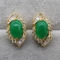 Exquisite Jewelry Round Malaysian Jade&AAA CZ Stud Earring E03-2