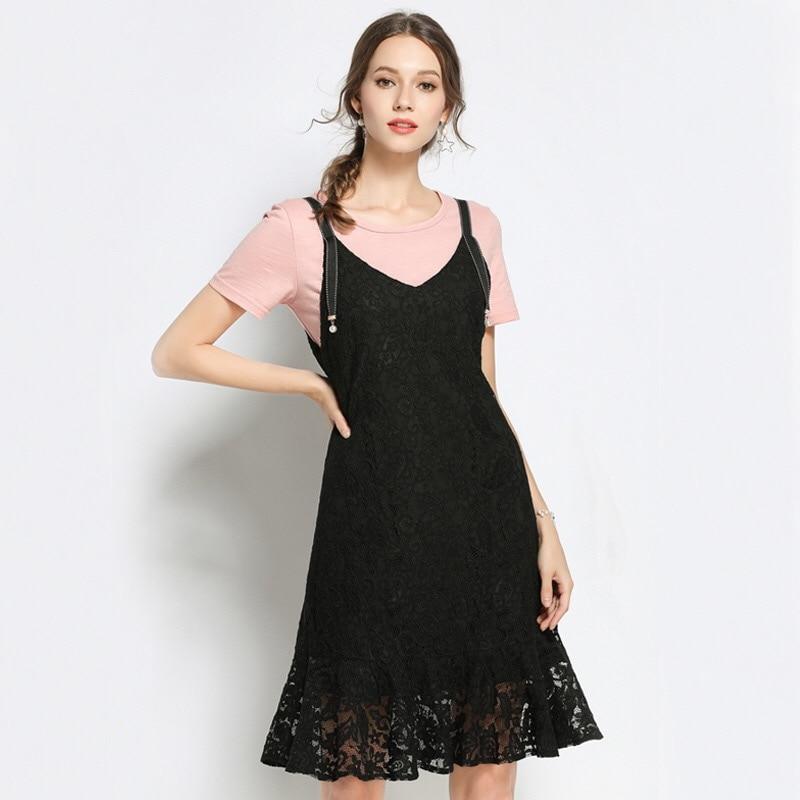цены на 2018 Elegant Lace Dress Sundress T-shirt Two Pieces Loose Maternity Clothes Casual Pregnancy Dress Ruffles Plus Size M-5XL в интернет-магазинах