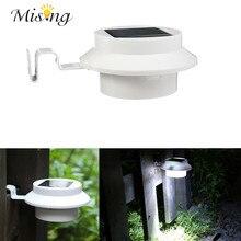 Misng Pure White 4 LED Solar Light LED Outdoor Light Garden Wall Lamp Gutter Yard Roof Fence Energy Saving Lighting