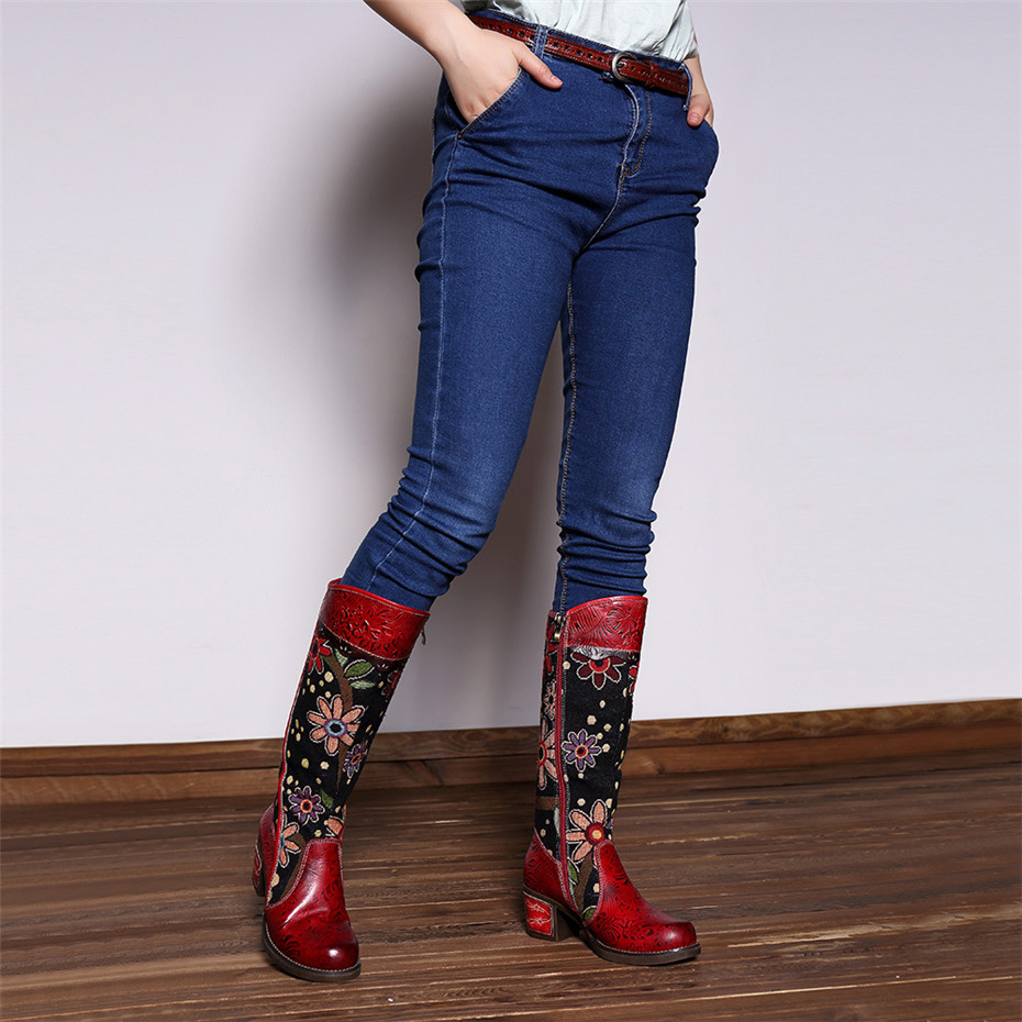 Fashion Patchwork Western Cowboy Boots Women Shoes Bohemian Genuine Leather Shoes Woman Vintage Side Zip Knee High Riding Boots (3)