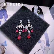 HIBRIDE Luxury Design Dubai Jewelry Greed And Red Cubic Zirconia Drop Earrings For Women Wedding Engagement