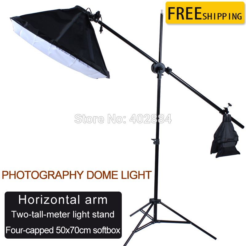 50*70cm Continuous Lighting Softbox 100-240V 4-Lamp-Holder 2M Light Stand Cross Bar Single Pulley Horizontal Arm Photo Studio photo studio arm bar with lighting boom 2m light stand boom photography kit cross arm