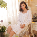White Long Sleeve Short Nightgown for Women Sleepwear Elegant Nightgowns for Women