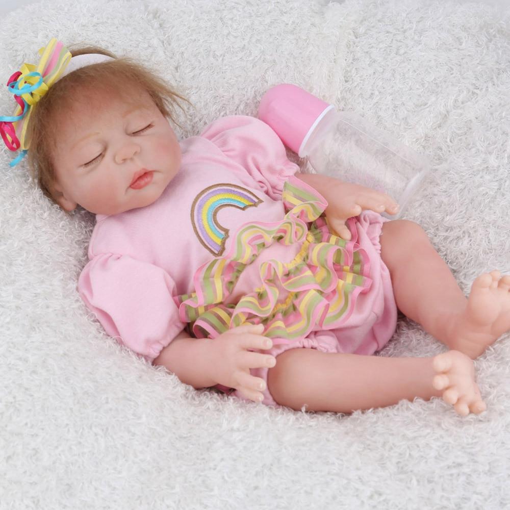 NPKDOLL 17 pouces 43 cm Silicone Reborn bébé poupées vivantes Bebes Reborn réaliste réaliste fille endormie cadeau d'anniversaire jouets