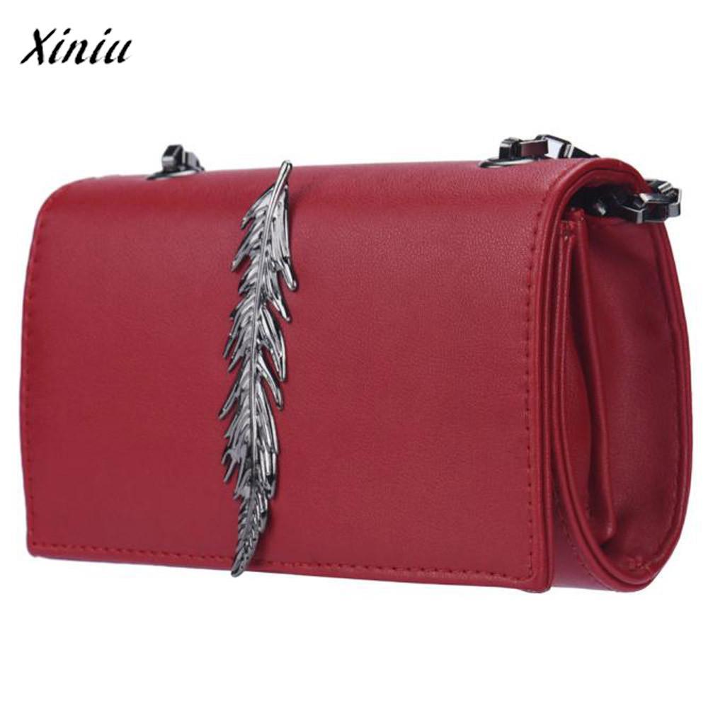 Xiniu brand 2017 new female bolsas feminina girl leather mini small feather metal chain shoulder - Small tin girl ...