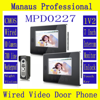 Hot Sale Touch Key Smart Home Black 7Inch TFT LCD Screen Video Intercom Phone One To