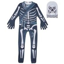 Купить с кэшбэком Skull Trooper Cosplay Costume Kids Streetwear Costumes Boys Jumpsuits FortnitedCosplay Children Halloween Festive Party Supplies