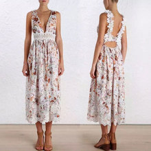 2017 new spring female embroidery printing water soluble lace Halter collar dress  beach V Beach Resort