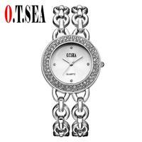 Luxury O T SEA Brand Gold Plated Women Watch Ladies Fashion Dress Quartz Watch 25809 Casual