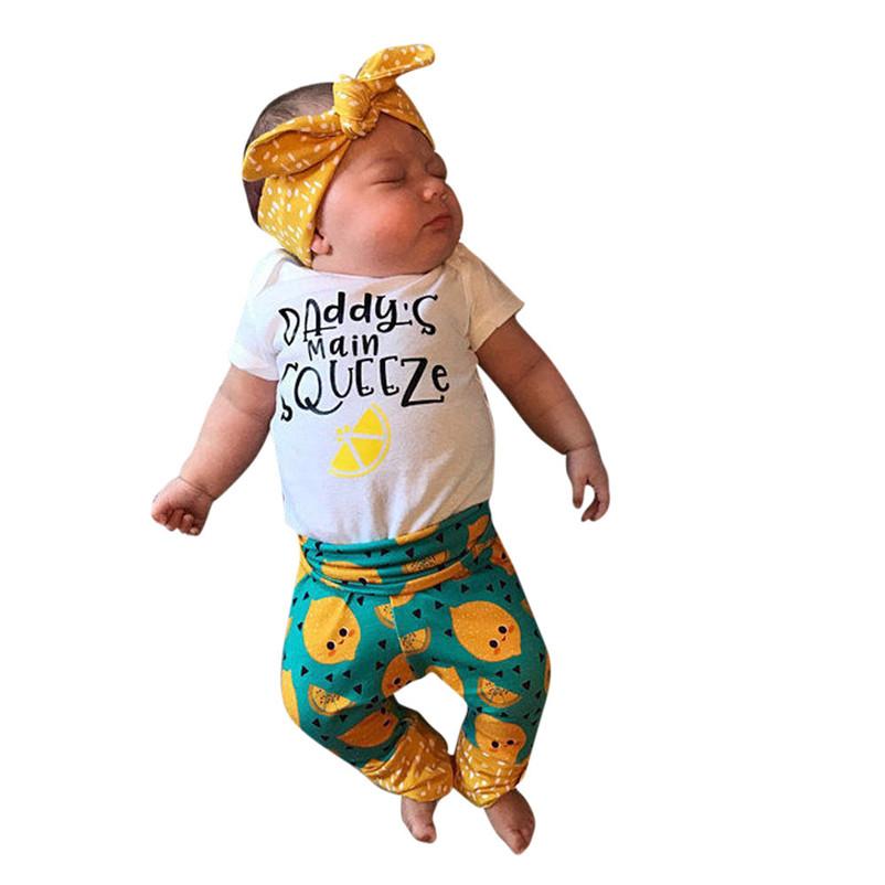 2018 Summer New Newborn Kids Baby Girls Cotton Papa s hand squeeze Romper + Orange Long Pants Leggings Outfits Set Clothes P5 ...