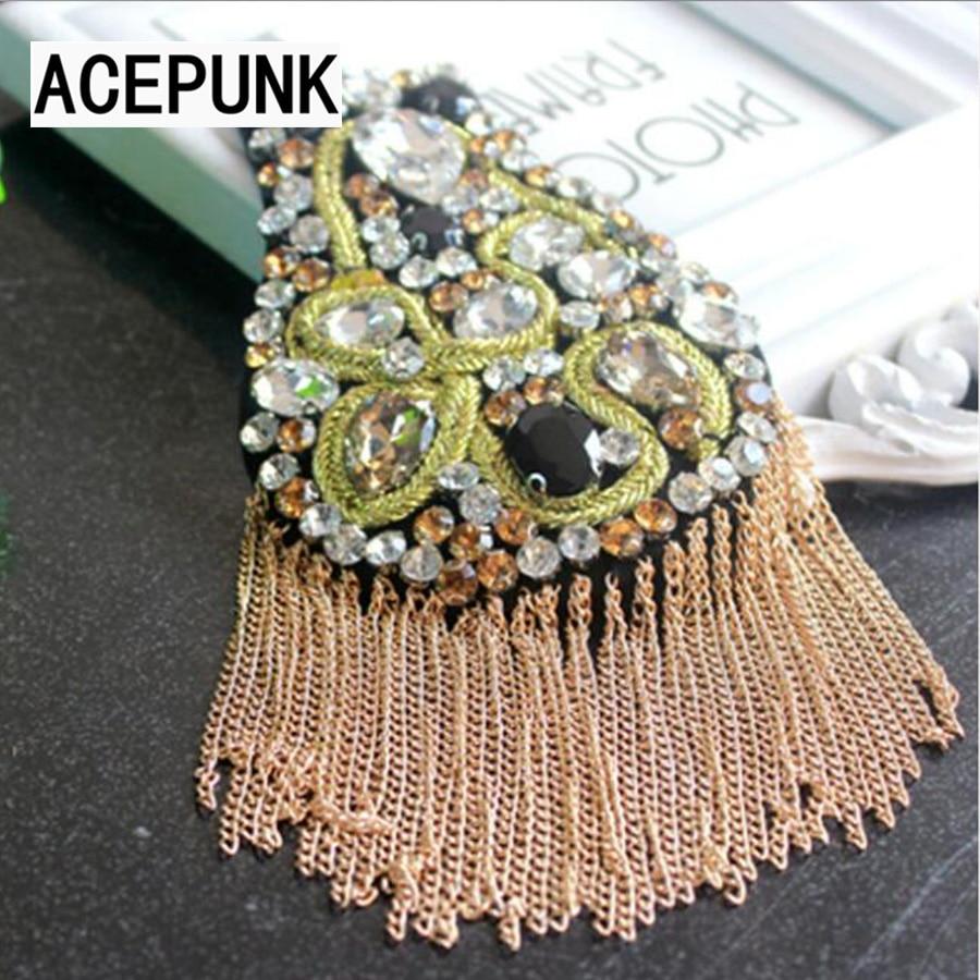 British Brooch Host Performance Ceremonial Suit Fashion Shoulder Pin Jewelry Crystal Tassel Metal Punk Shoulder Epaulette 2018