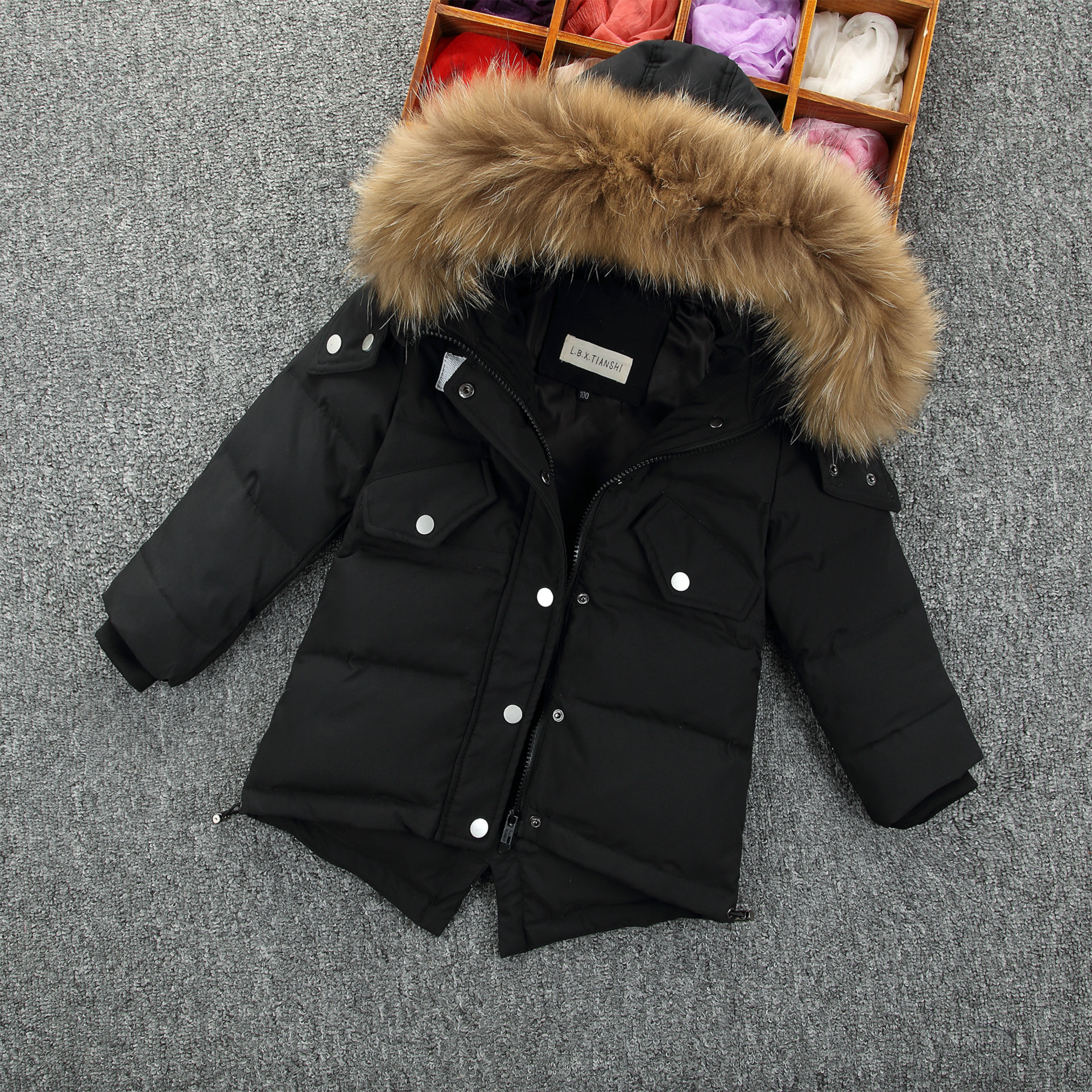Children Winter Coat Boy White Duck Down Jackets Real Fur Hooded Warm Winter Kids Clothes Boys Outerwear Jackets -35 Degree buenos ninos thick winter children jackets girls boys coats hooded raccoon fur collar kids outerwear duck down padded snowsuit
