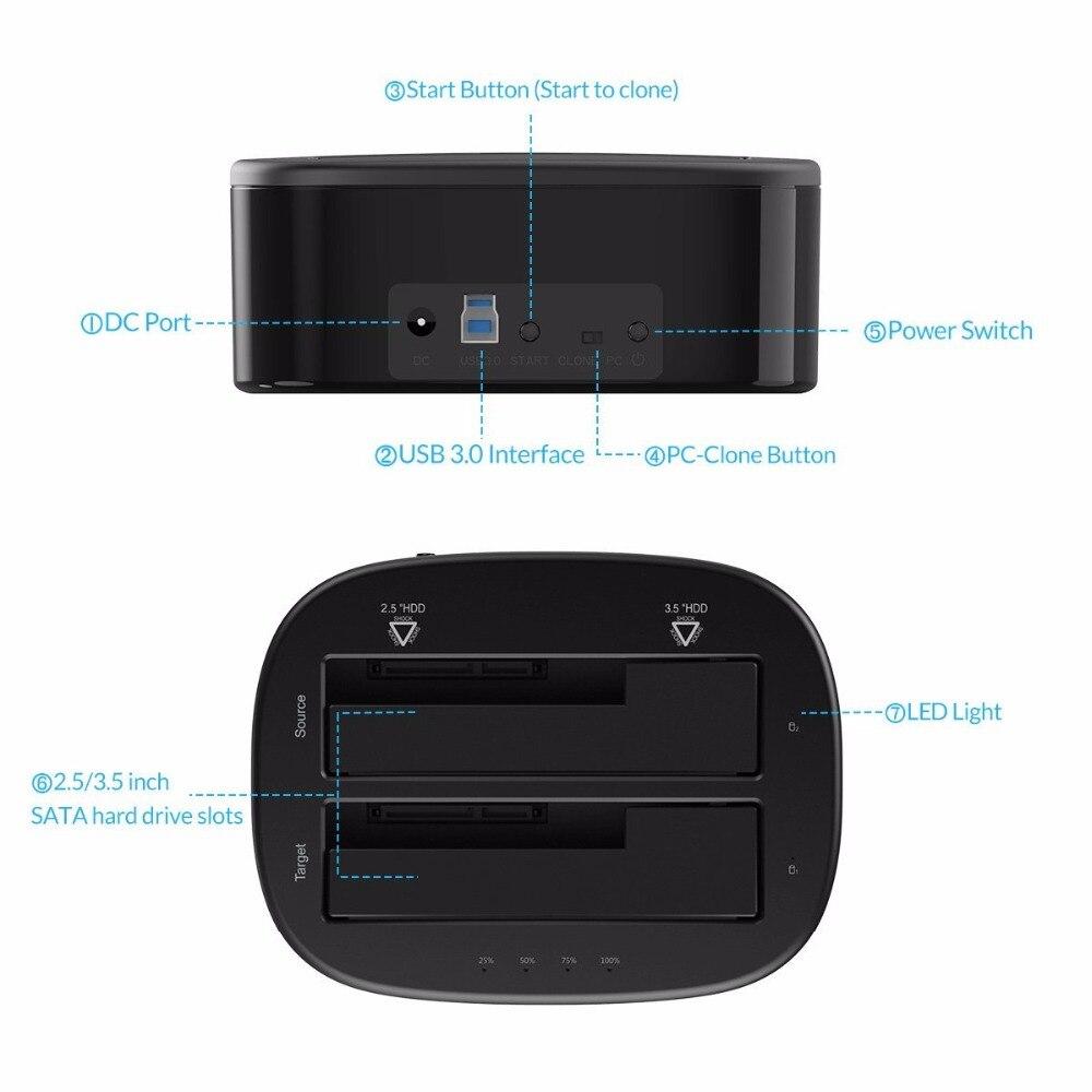 ORICO USB 3.0 à SATA Double-Bay Disque Dur Station D'accueil pour 2.5/3.5 pouce HDD/SSD avec Hors Ligne Clone Fonction [UASP Protocole] - 5