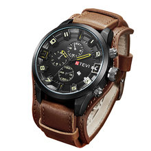 Для Мужчин's Повседневное Спорт Кварцевые часы Для мужчин s часы лучший бренд класса люкс кварц-часы кожаный военные часы наручные мужской часы Drop