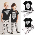 2PCS Toddler Kids Clothes 0-5Y Baby Boys Girls Short Sleeve Top T-Shirt and Pant Outfit Clothing Set