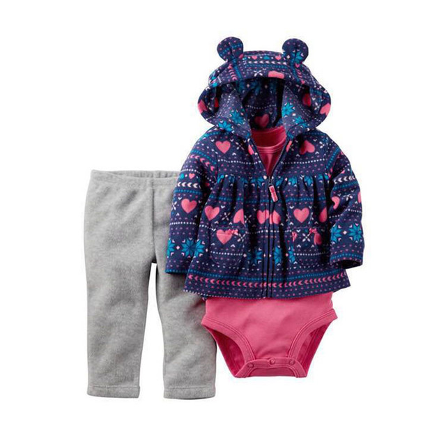 Babe Girl boy Clothes Cartoon Hooded Jackets&Pants&Overall Baby Suits 2017 High Quality Cotton Jumpsuits For Newborns Baby Kits